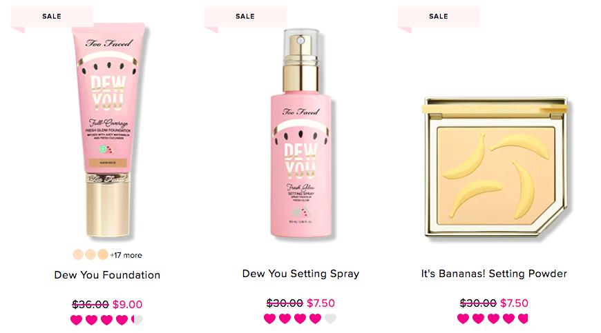 too faced makeup sale